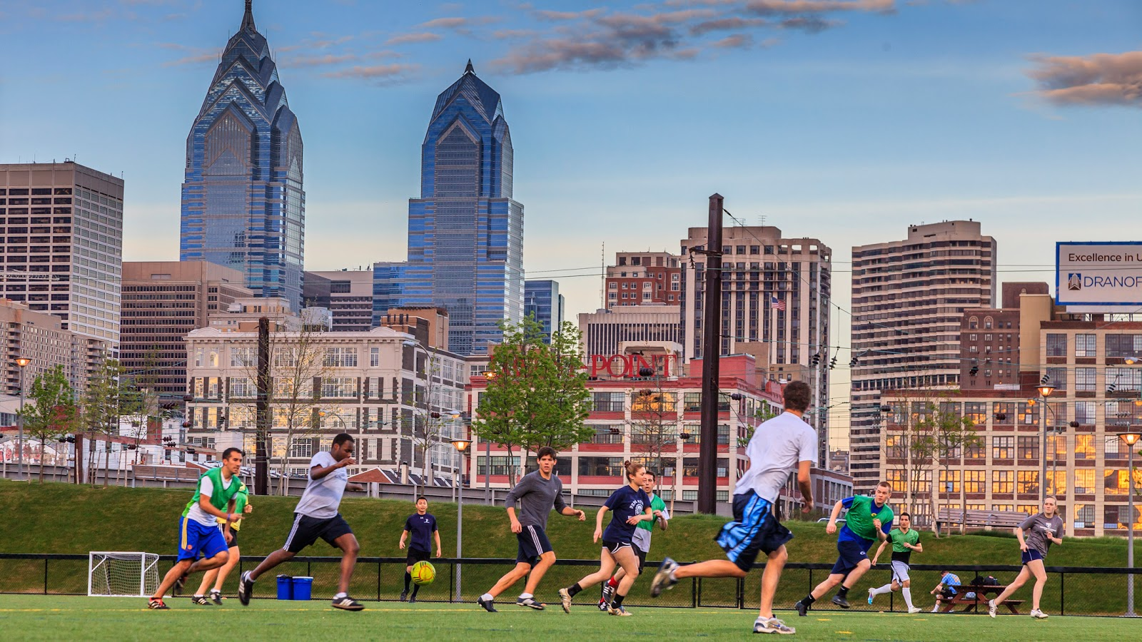 Penn students playing soccer