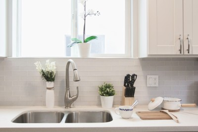 clean kitchen sink with green plants