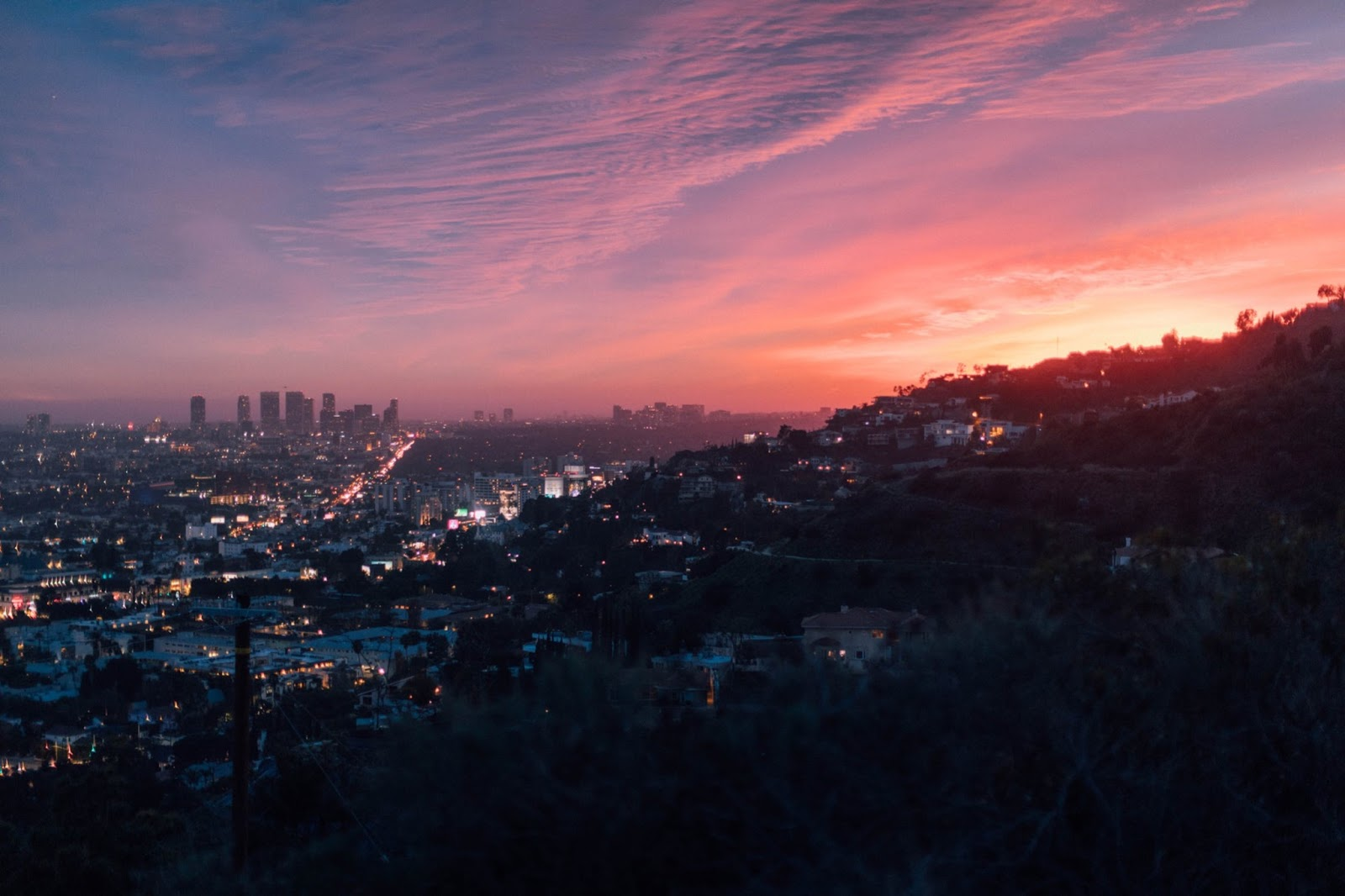 sunset view of south LA area