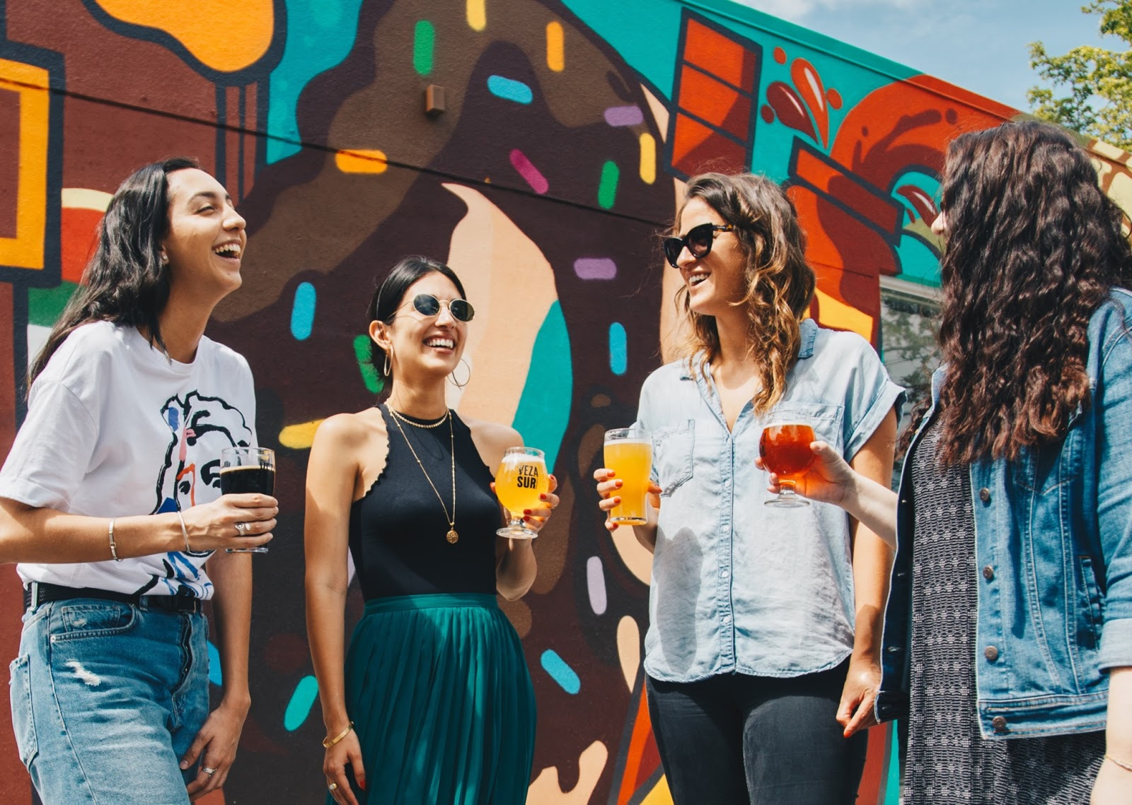 A group of women drinking and laughing at Georgetown Beer