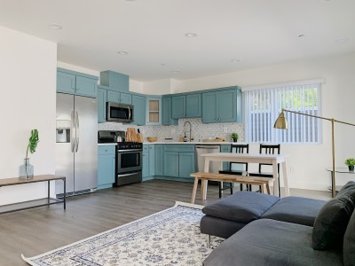 Teal Cabinetry in kitchen