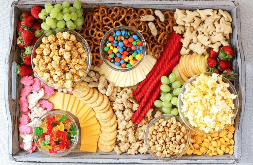 dish filled with snacks