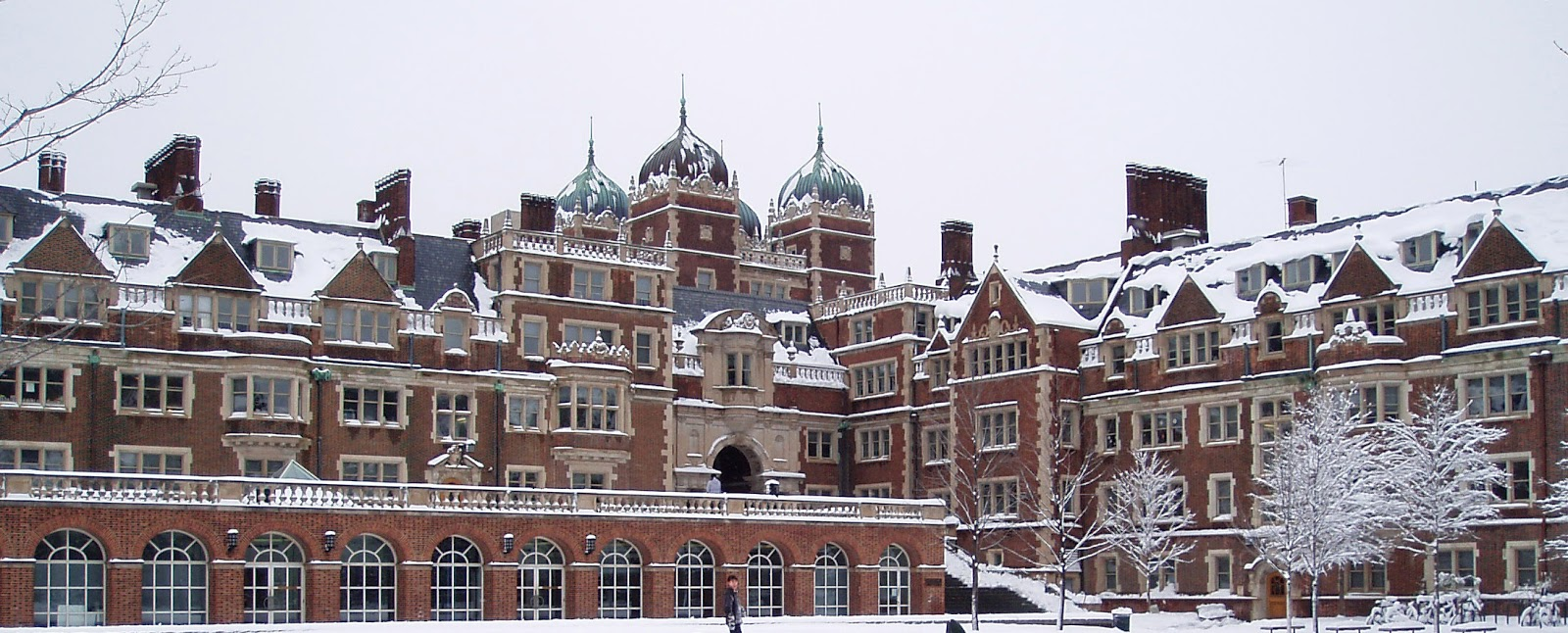 large university campus covered in snow