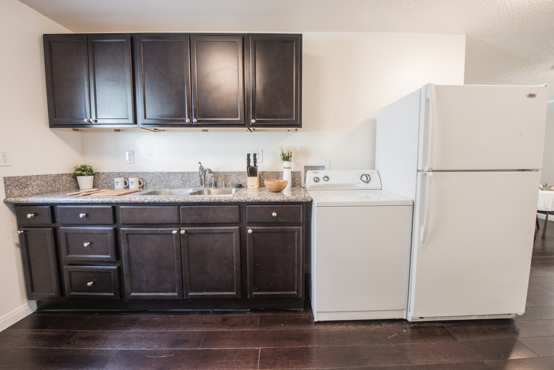 Dark Brown Cabinet and dark hardwood floors