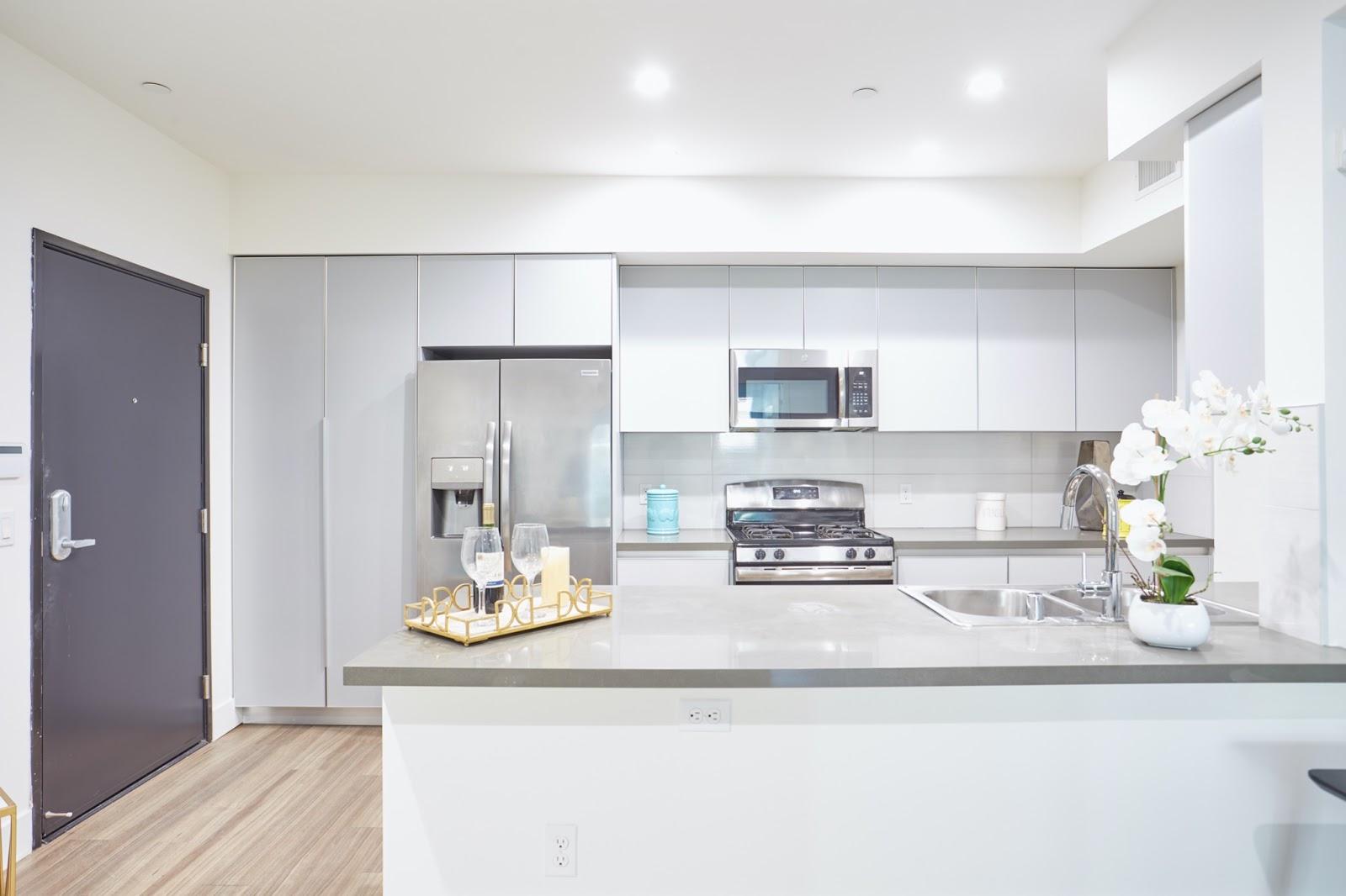 Tripalink studio apartment kitchen area