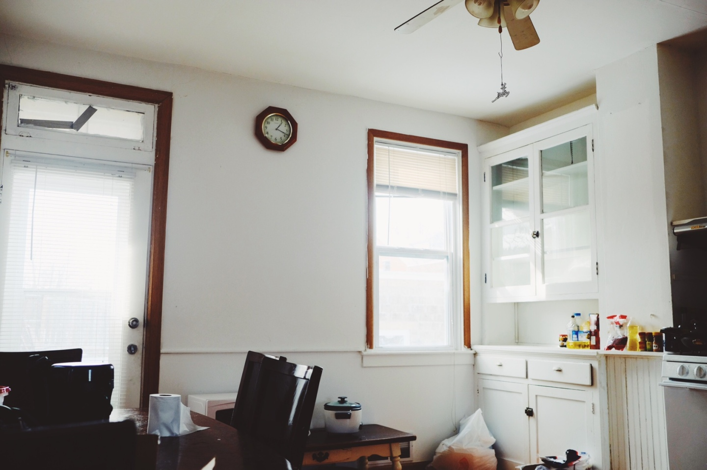 room with bright light, two windows