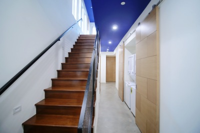 long brown stairs in home