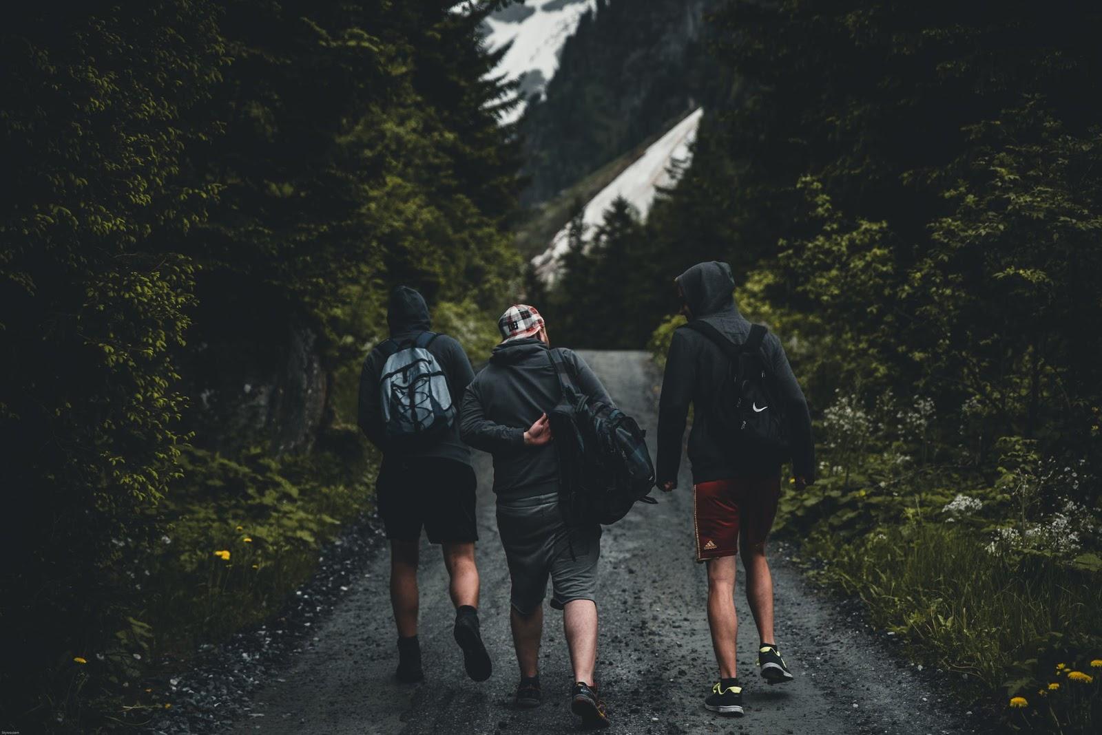 three guys walking down a nature trail