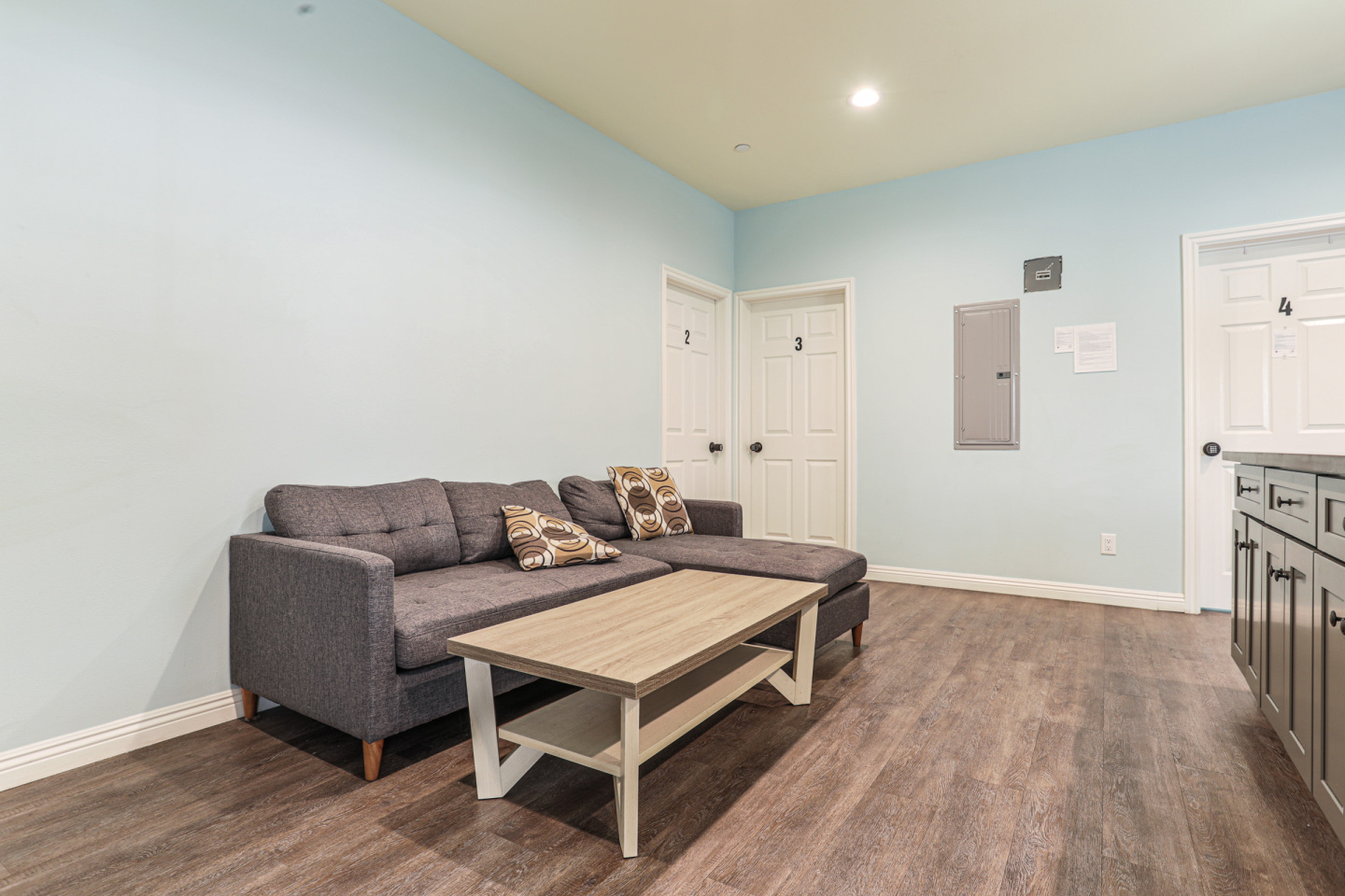 Grey Specked couch with abstract pillows in living room