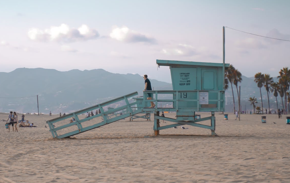 Sawtelle Japantown  beach with lifeguard stand