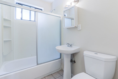 Tripalink Property, communal and modern white USC student bathroom