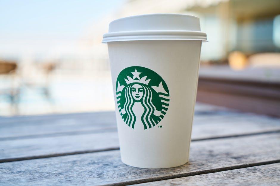 Starbucks Latte Drink on Cafe Table