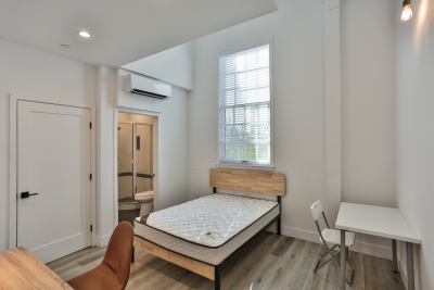 white mattress, clean room, wood bed frame