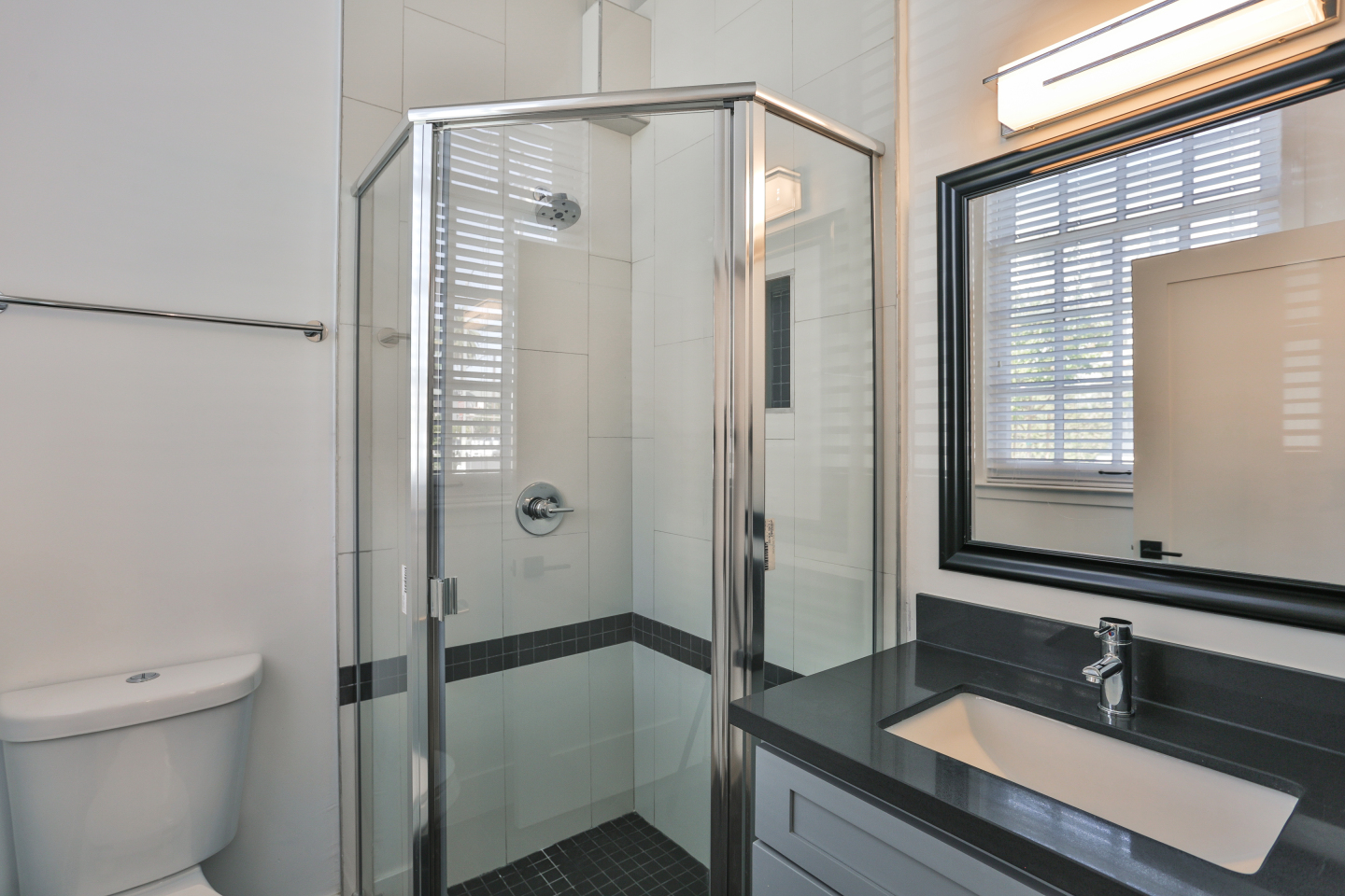 large clean glass shower