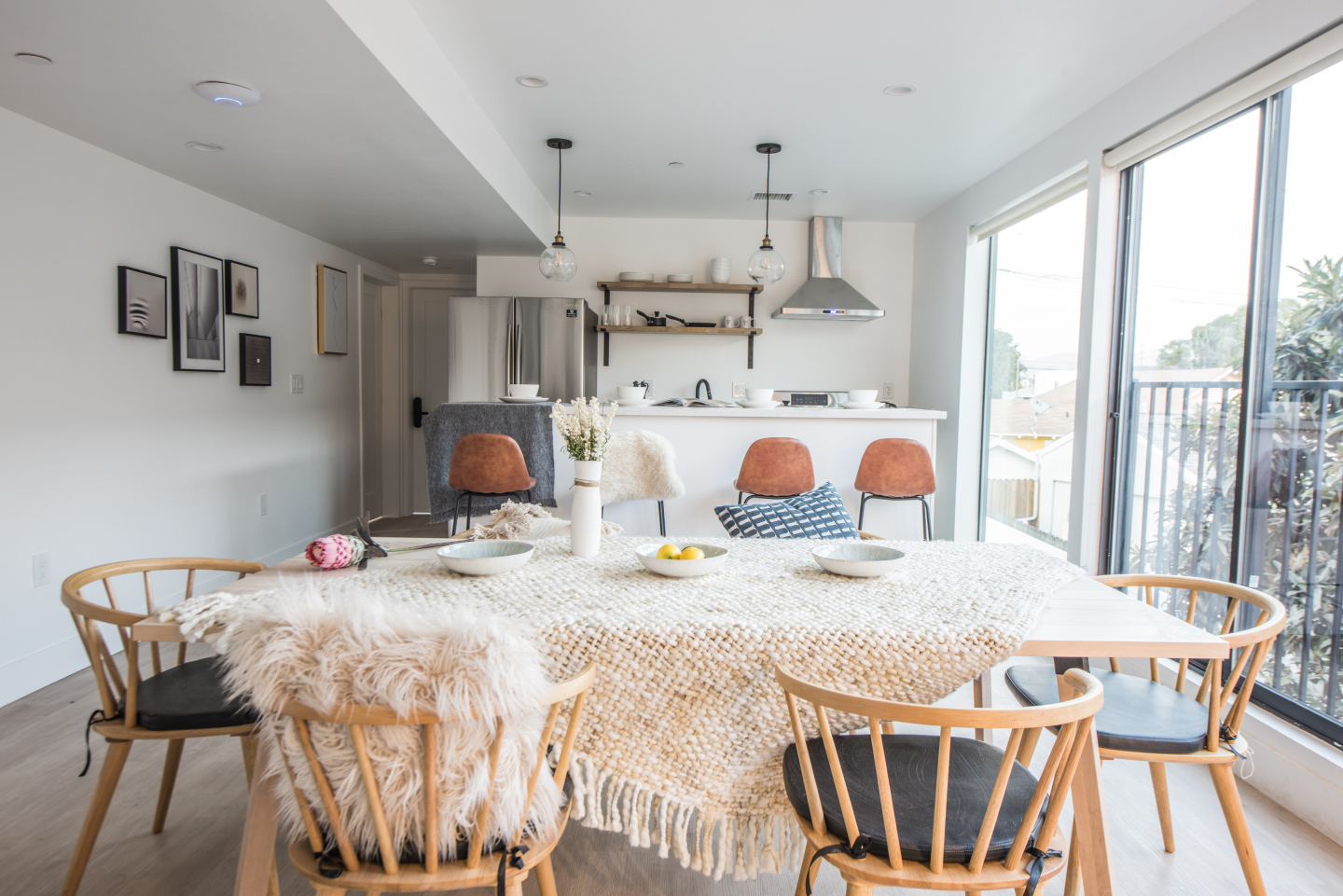 white dining table in huge kitchen area