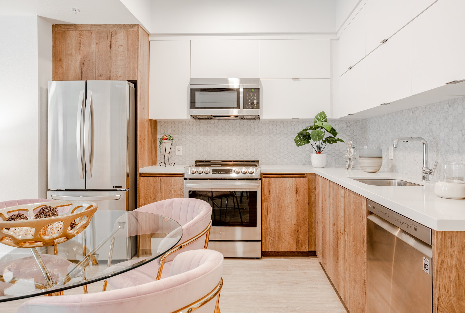 Koreatown apartment with brown cabinets and silver appliances