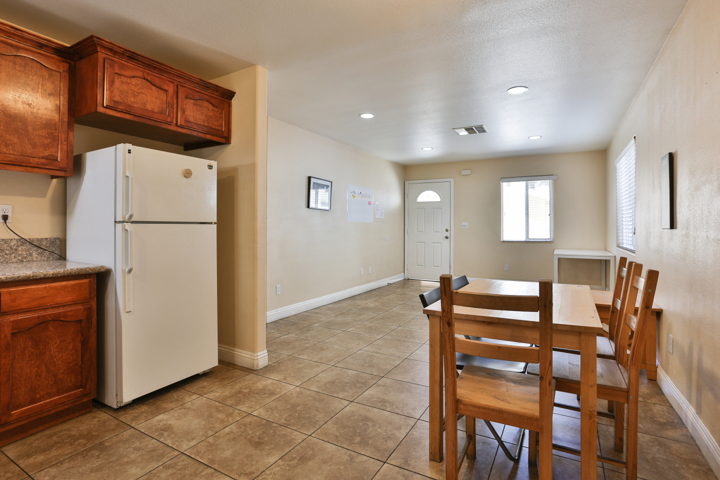 kitchen and living room view, Granite floors