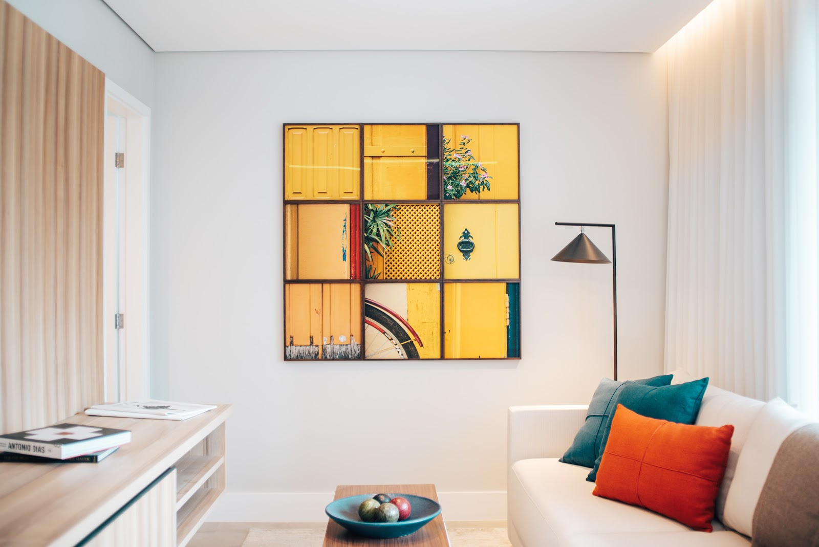 Philadelphia Apartment with Yellow art on the wall