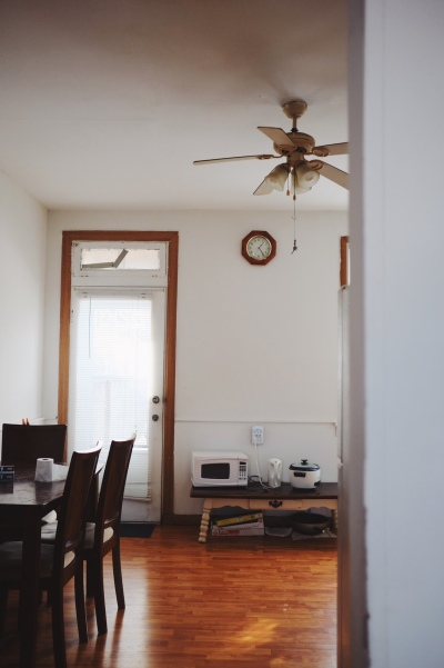 room with high ceiling fan