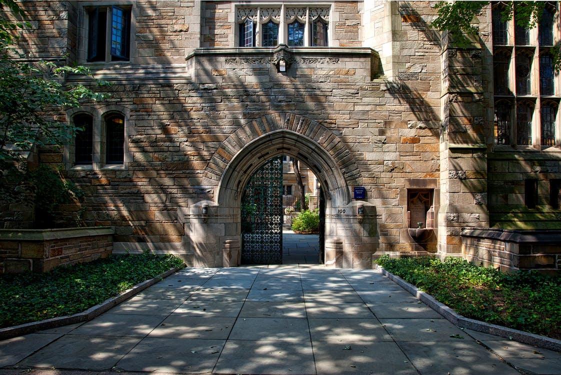 Steel Gate of Brown Brick Building, College School campus