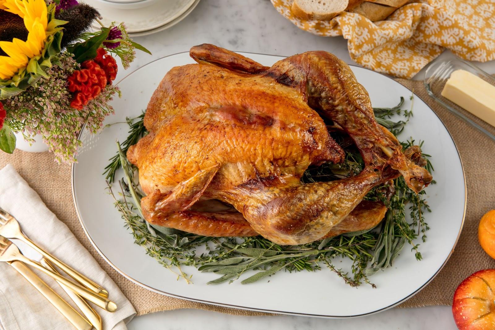Turkey on table for Thanksgiving dinner