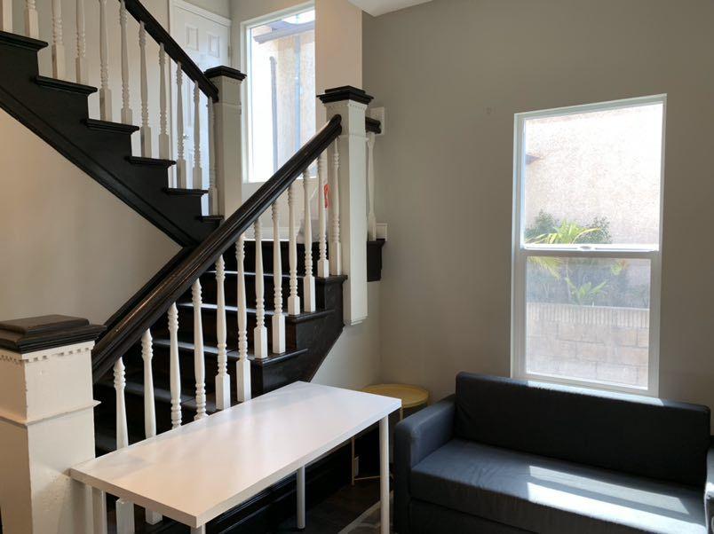 large dark staircase in livingroom