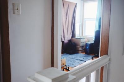 room with Amazon boxes