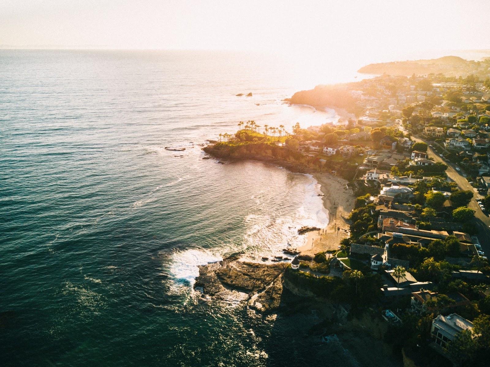 air view of Los Angeles beach shorline